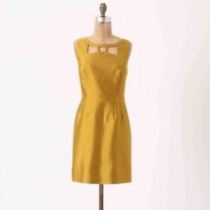 Anthropologie Maeve Chardonnay Sheen Bow Dress